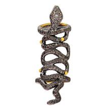 14k Gold 2.41ct Diamond Pave SNAKE Long Finger Ring 925 Sterling Silver ... - $762.30