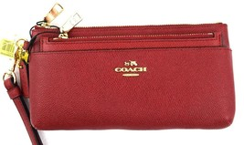 AUTHENTIC NEW NWT COACH EMBOSSED TEXTURED ZIP WALLET W POP UP POUCH RED ... - $59.99