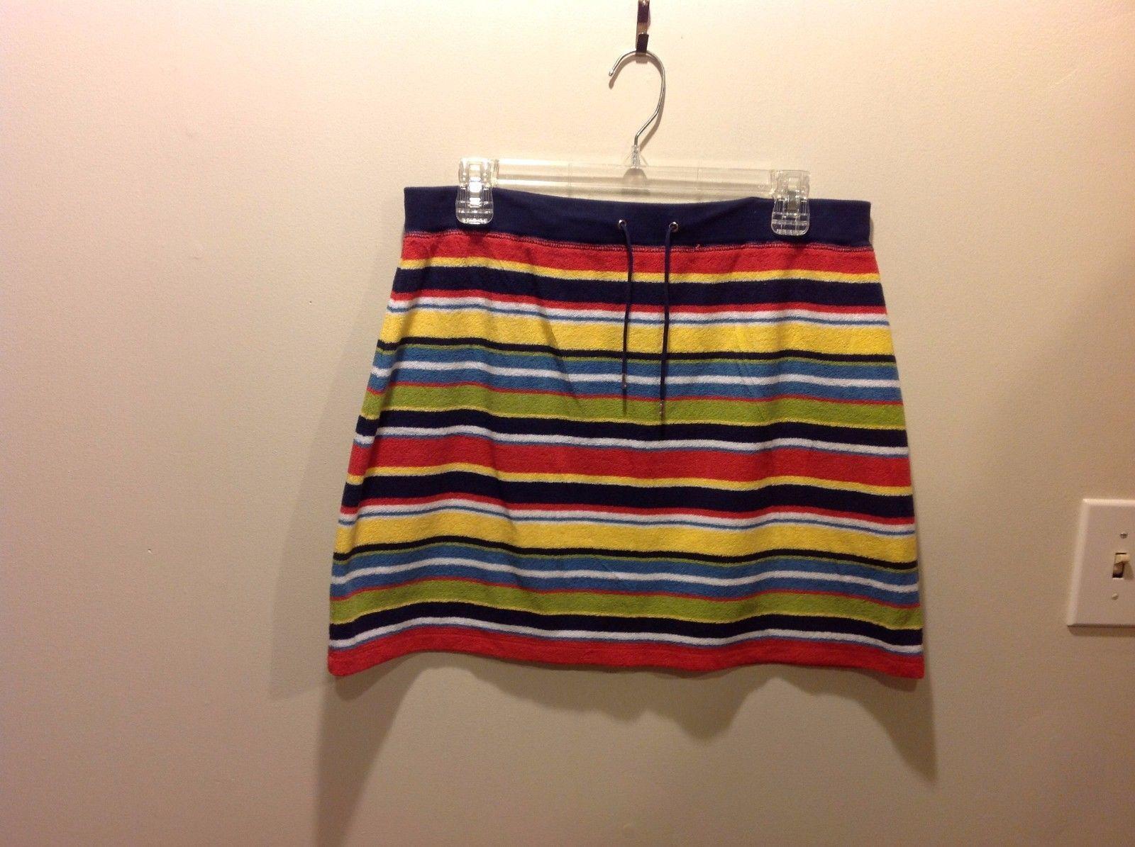 Jones New York Sport Colorful Horizontal Striped Beach Skirt Sz PL