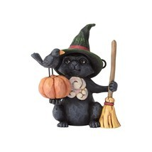 Jim Shore Halloween Mini Witch Cat with Pumpkin Resin Figurine New with Box - $201,26 MXN