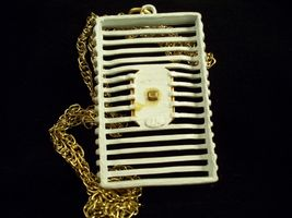 JJ ABSTRACT  WHITE Enamel Pendant Necklace Gold Plate Avant Garde GEOMETRIC image 4