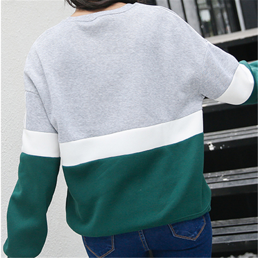Autumn New Spell Color Stitching Harajuku Women Hoodies Pullover Fleece Loose Fe image 5