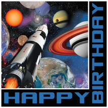 Space Blast 16 Lunch Napkins Rocket Happy Birthday - $4.55