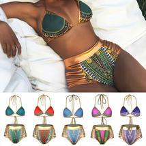 Women's Push Up Padded High Waist Ethnic Print Bikini Swimwear Set image 5