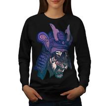 Samurai Tiger Head Jumper Warrior Cat Women Sweatshirt - $18.99