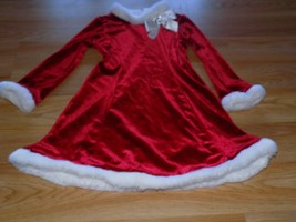 Size 4 Youngland Red White Velour Santa Christmas Holiday Dress Faux Fur... - $22.00