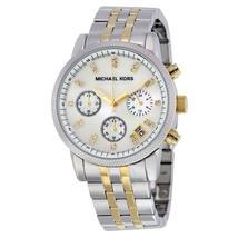 Michael Kors MK5057 Ritz Two Tone Mother Pearl Dial Chronograph Womens W... - $104.90
