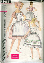 Simplicity 3778 One-Piece Dress with Two Aprons & Head Scarf Size 14 Bus... - $3.00