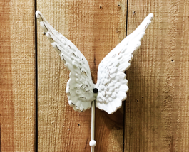Cast Iron White Angel Wing Single Wall Hook - $9.89