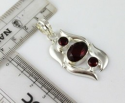 Garnet  Silver Plated Pendant With Chain / Necklace  V-1-135_54 - $8.09