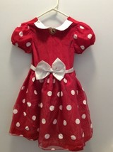 Disney Store Minnie Mouse Dress Girl Costume Small 6 6X Red White Tulle ... - $17.23