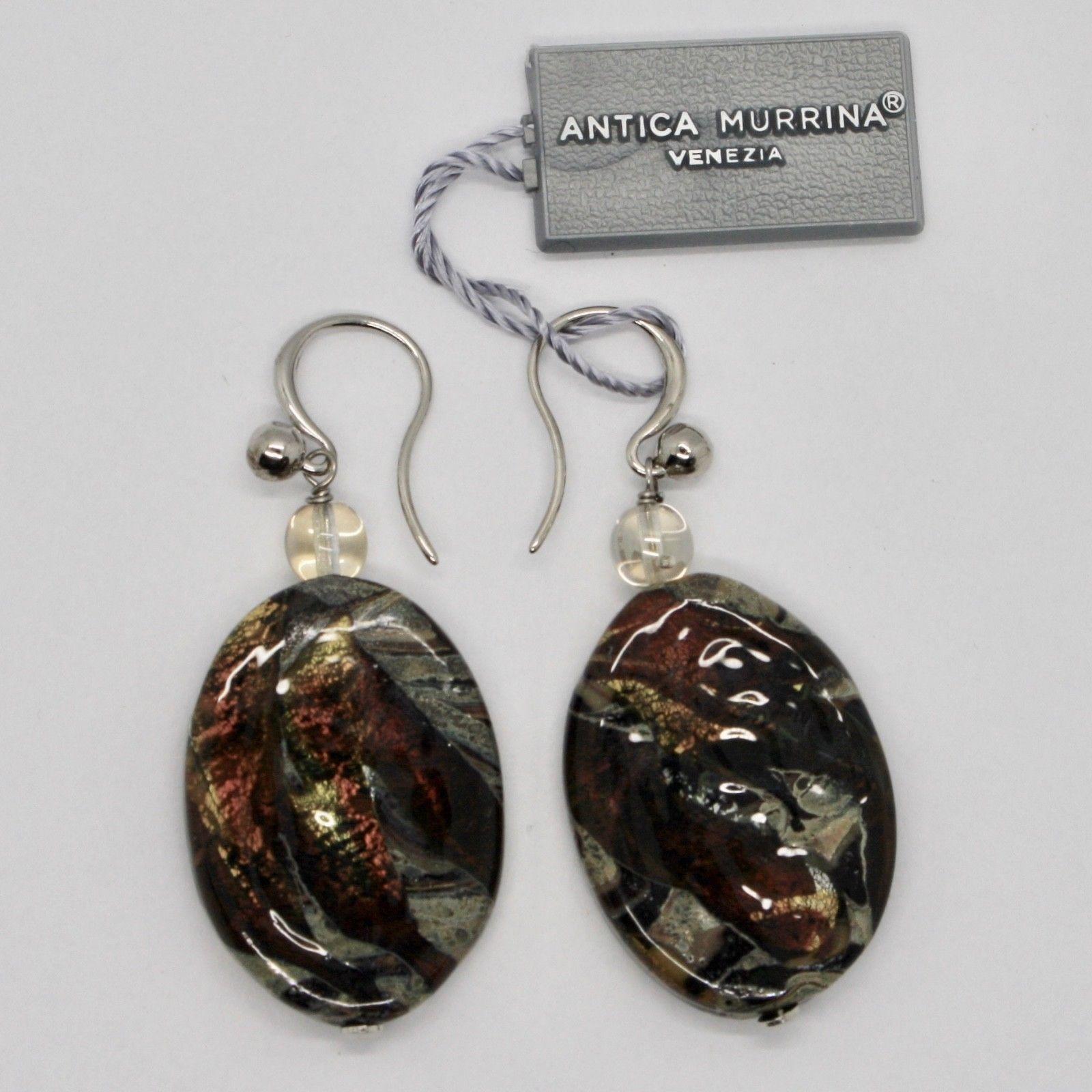 EARRINGS ANTICA MURRINA VENEZIA, MURANO GLASS BROWN RED BEIGE OR582A10