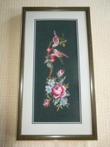 """Framed BIRDS & ROSES NEEDLEPOINT & PETIT POINT Wall Hanging - 13"""" x 23 1... - $29.65"""