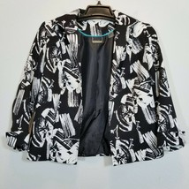 TANJAY Womens Black/White Blazer Size 8P Textured Open Front 3/4 Sleeve ... - $18.20