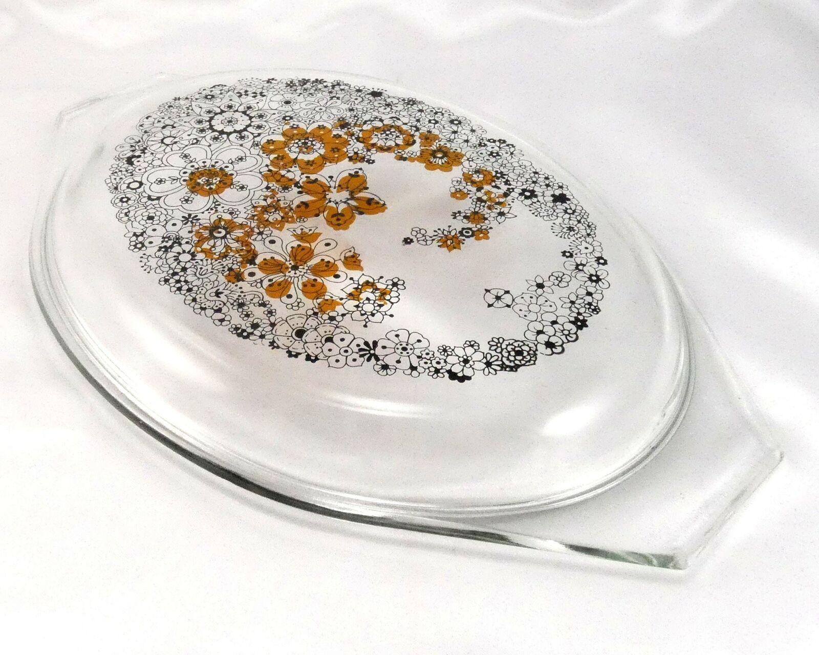 Pyrex Floral Bubbles 945C Lid 3D Effect Vintage 1970 Clear Glass ~ LID ONLY image 3