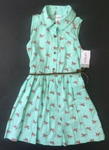 New Carter's Mint Green Horse Print Dress 3T Brown Braided Belt Sleeveless Pony - $14.84