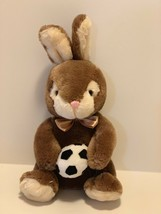 Dan Dee Plush Bunny Rabbit with Soccer Ball Soft Brown Tan Stuffed Animal - $9.58