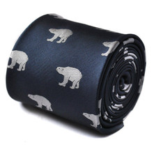 Frederick Thomas Navy Blue Mens Tie with polar bear pattern FT1519 RRP £19.99