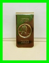 VINTAGE 1945 Penny Money Clip After Taxes Gold Tone Finish Excellent Condition - $12.13