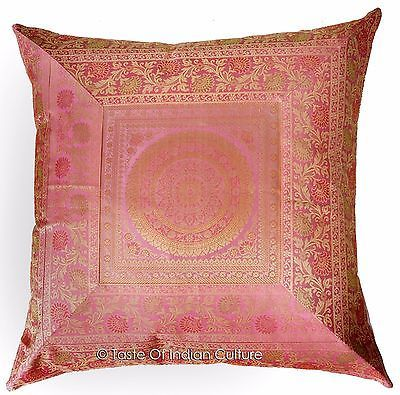 "Primary image for Pink 24"" Mandala Cushion Pillow Cover Silk Brocade Sofa Throw Handmade Decor"