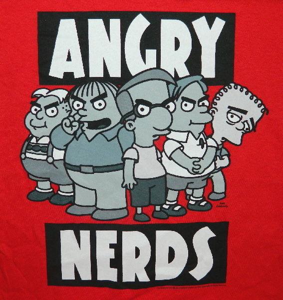 The Simpsons, Kids Angry Nerds Humor Spoof T-Shirt, 2X, NEW UNWORN