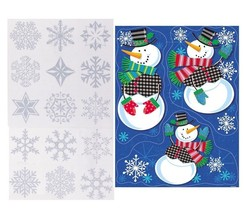 Window Clings Glitter Snowflake Snowman Christmas Stickers Winter Decora... - $3.74+