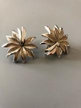 Vintage Signed Crown Trifari Silvertone Earrings - $13.85