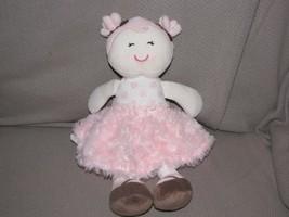 BABY STARTERS STUFFED PLUSH DOLL CLOTH PINK POLKA DOT SWIRL FUR SKIRT BR... - $23.50