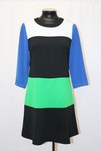 MICHAEL MICHAEL KORS DRESS COLORBLOCK LONG SLEEVE BLACK GREEN WHITE SIZE... - $55.99