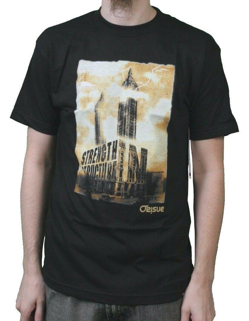 Orisue Mens Black Structure Strength Building Tower Lightning T-Shirt Medium NWT