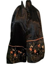 Surkana Womens Scarf Black Velvet Embroidered Floral Viscose Shawl Aari ... - $40.57