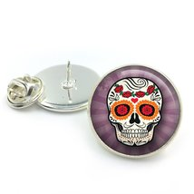 Sugar Skull Glass Dome Round Cabochon Lapel Tie Pin Badge Gift UK - $5.99