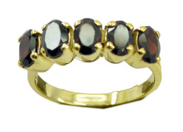 charming Garnet Gold Plated Red Ring Natural gemstone US gift - $12.99