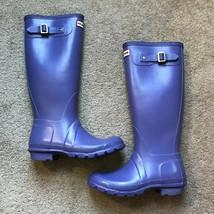 Hunter Original Tall Lilac Purple Adjustable Strap Rain Boots Womens Size 6 - $89.95