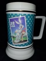 Warner Bros Looney Tunes Bugs Bunny Postal Stamp Ceramic Mug Stein 1997 ... - $18.89