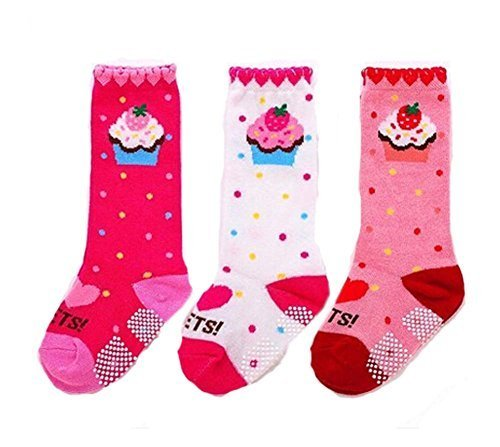 Baby Cotton Socks Baby Long Socks Comfy Leg Guards,3 SetsPink )
