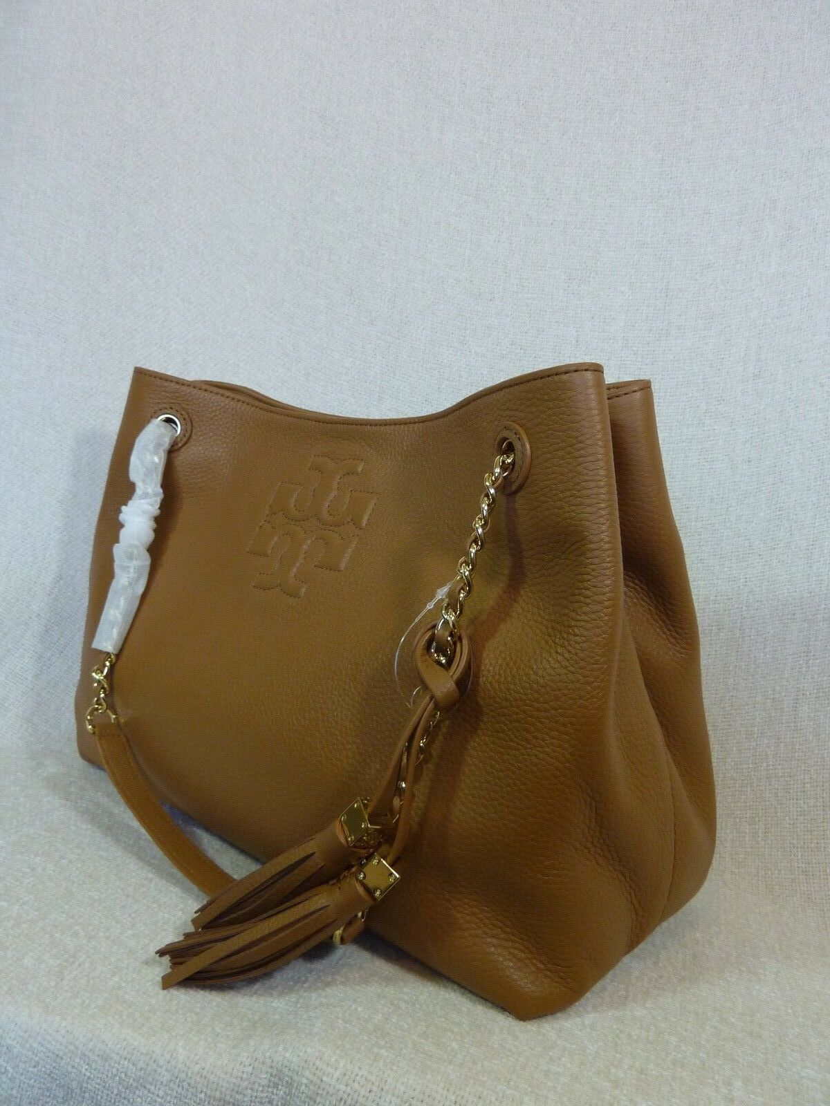 NWT Tory Burch Bark Brown Pebbled Leather Thea Chain Slouchy Tote $495 image 6