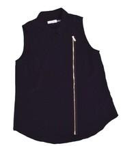 Calvin Klein, Women's, Sleeveless Asymmetrical-Zip Moto Blouse, Black, S... - $27.52