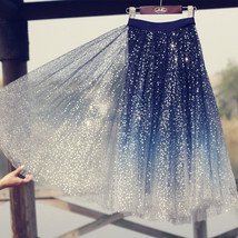 Sequined Tulle Midi Skirt Outfit Navy Gold Sparkly Midi Bridesmaid Skirt Custom image 4