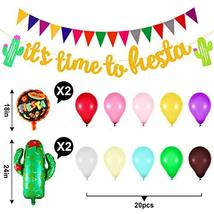 38 Pieces Mexican Fiesta Party Decorations, Includes Triangle Bunting Flag, Fies image 4