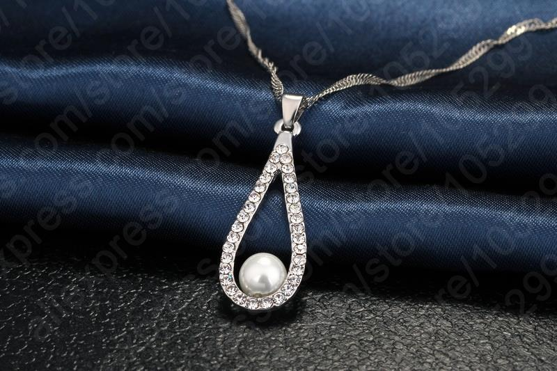 Primary image for Luxury Lady 925 Sterling Silver Shining CZ Crystal Water Drop Artificial Pearl N