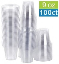 Disposable 9 oz Plastic Party Cups, Tumblers, 100 Count, Crystal Clear - $15.99