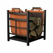 Rack Wood Storage Fireplace Log Bin Firewood Holder Leather Carrier Tot... - $100.33