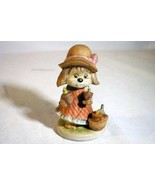"Lefton Puppy Planting In Her Garden Bisque Porcelain Figurine 3 3/4"" - $3.77"