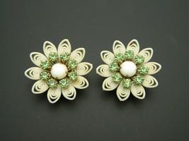 Green Rhinestone Cream Celluloid Flower Vintage Clip Earrings - $24.74