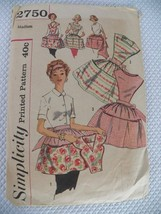 Vintage 2750 Simplicity Apron Pattern Christmas Valentine Cheesecake Pin... - $11.10