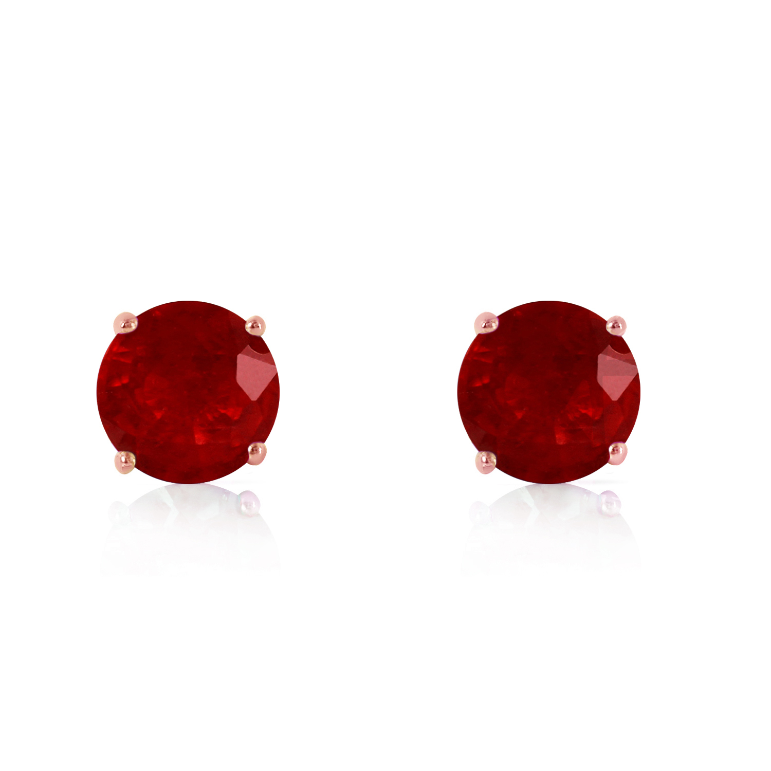 Primary image for 14K Solid Rose Gold Beautiful and Petite Ruby Stud Fashion Earrings 0.95 Ct