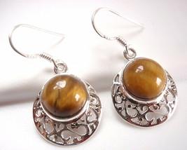Tiger Eye Filigree Earrings 925 Sterling Silver Dangle Drop New - $14.84