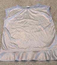 Girl's Crewcuts Cotton Blend (Almost) Sleeveless Silver Lame /Gray Top (... - $11.30