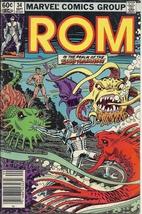 (CB-15} 1982 Marvel Comic Book: ROM #34 { Sub-Mariner app. } - $5.00